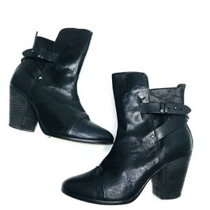 Rag & Bone Kinsey Black Leather Heel Booties